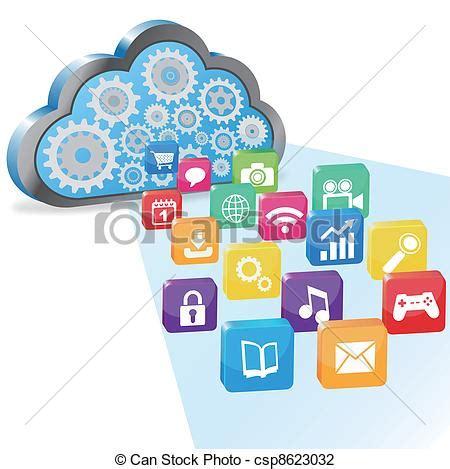 imagenes vectoriales en informatica ilustraciones de vectores de aplicaciones nube