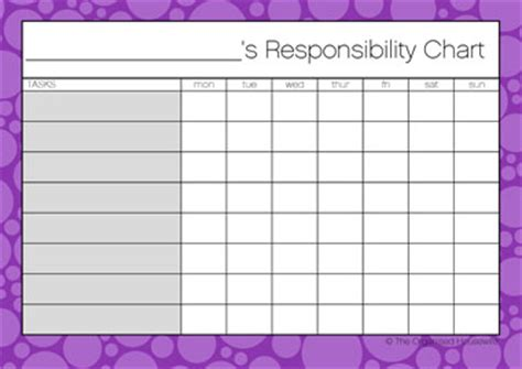 responsibility chart template responsibility chore charts the organised shop