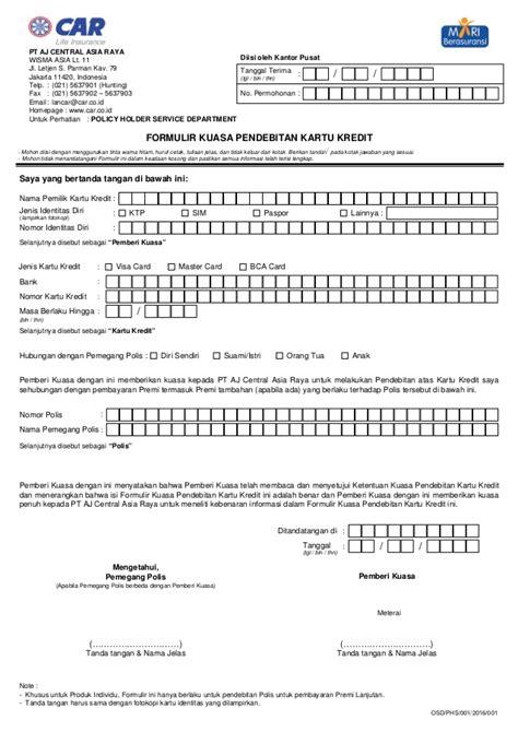 formulir kuasa pendebitan kartu kredit pembayaran tabungan 3i network