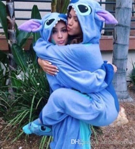 hot sell stitch blue flannel animal pajamas unisex mascot