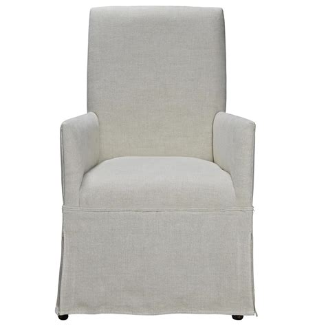 sojourn linen upholstered skirted dining arm chair zin home