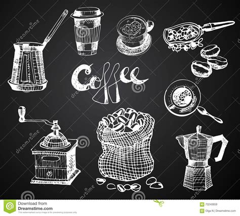 coffee shop graphic design hand drawn coffee set vector graphic illustration design