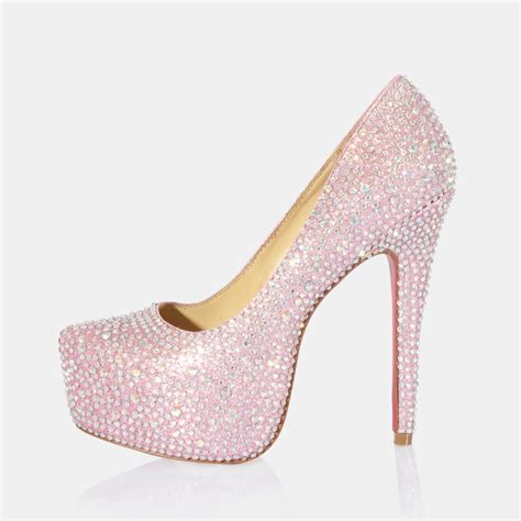 Rhinestone Wedding Shoes by High Heel Rhinestone Closed Toes Pink Wedding