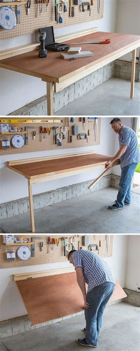 folding table garage storage 36 diy ideas you need for your garage folding workbench