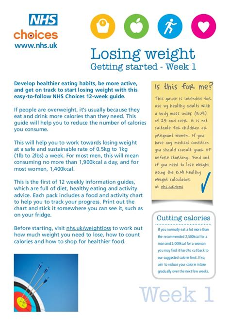 weight management nhs health and fitness course week 1