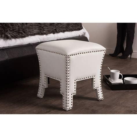 white leather tufted ottoman tufted stud leather ottoman modern furniture brickell