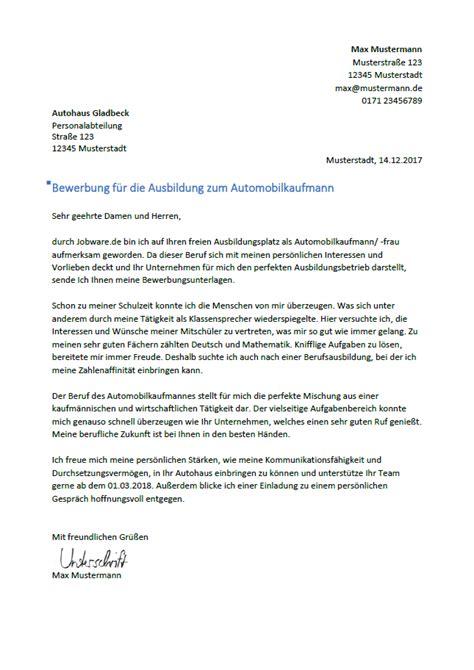 Bewerbung Anschreiben Ausbildung Automobilkaufmann Automobilkaufmann Automobilkauffrau Tipps Und Bewerbungsmuster