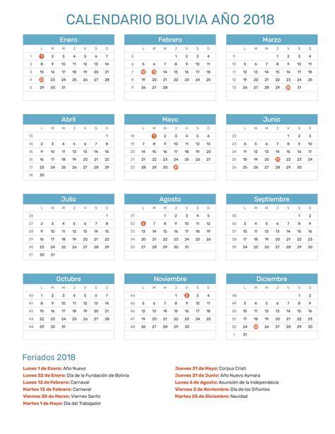 Bolivia Calend 2018 Calendario Bolivia A 241 O 2018 Feriados