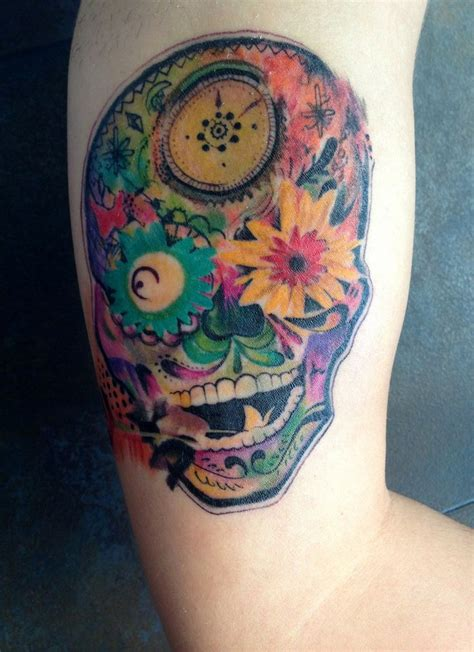 psychedelic sugar skull by jose gonzalez at ink in tattoo