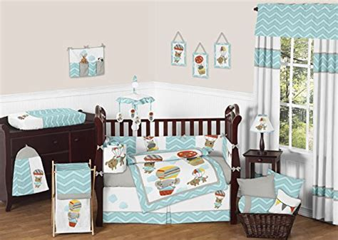 Hippo Crib Bedding Sweet Jojo Designs Bedding Sets Balloon Buddies Elephant Hippo Animal Jungle 9 Pc