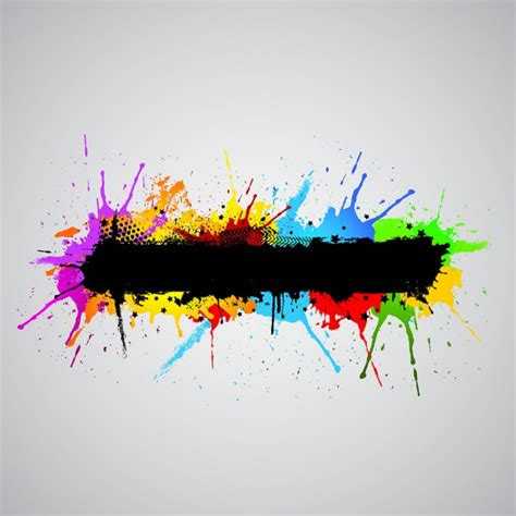 abstract grunge background with colourful paint splashes vector free