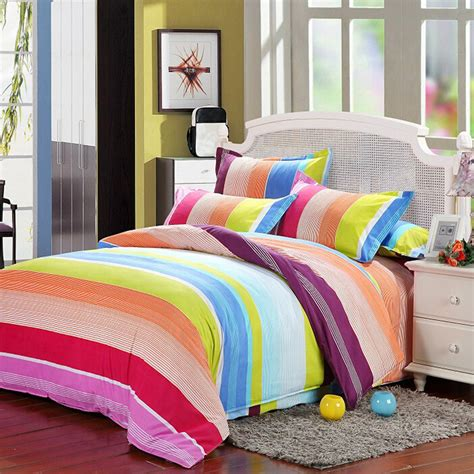 colorful queen comforters polyester colorful stripes single queen king reactive