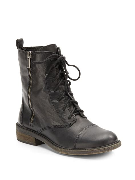 leather combat boots lucky brand nolina leather combat boots in black lyst