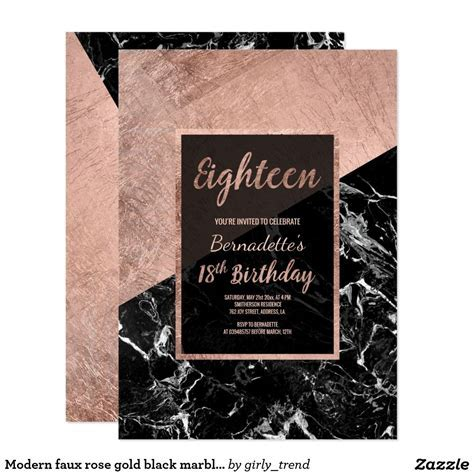 Modern faux rose gold black marble 18th birthday