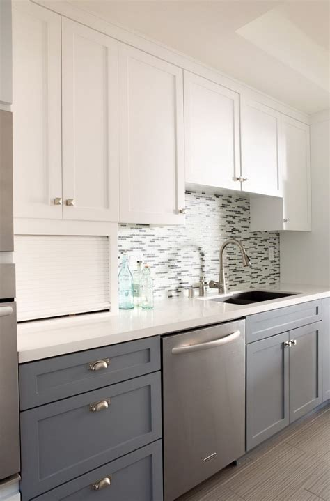 two toned cabinets in kitchen two tone kitchen cabinets gray and white home design ideas