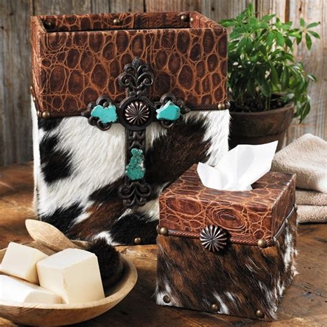 Cowhide Accessories - cowhide croc leather waste basket and tissue box