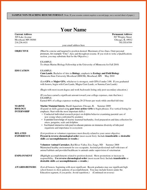 resume patterns moa format