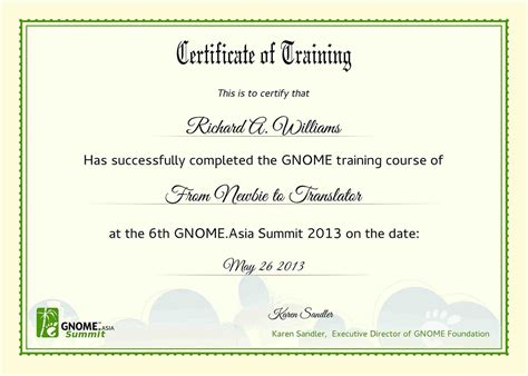 certificate  training template word