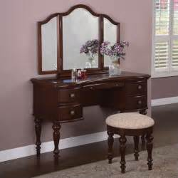 Vanity Table Furniture Marquis Cherry Wood Makeup Vanity Table With Mirror And