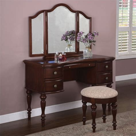 vanity with mirror and bench powell furniture marquis cherry wood makeup vanity table