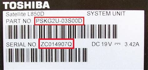 finding  serial number toshiba spares