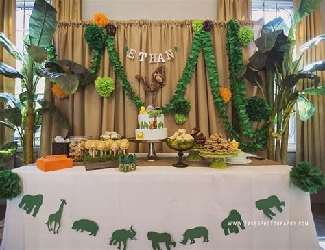 1st birthday jungle theme decorations jungle birthday quot ethan s jungle safari 1st birthday