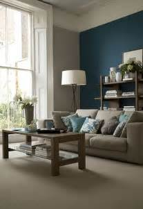 Grey Accent Wall by 26 Cool Brown And Blue Living Room Designs Digsdigs