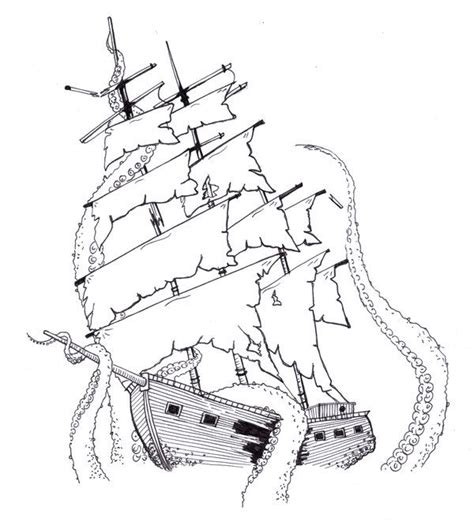 ghost ship coloring pages upper front left side ship and kraken by kirstysuzanne