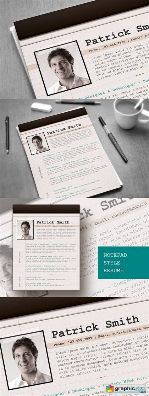 notepad style resume 187 free download vector stock image