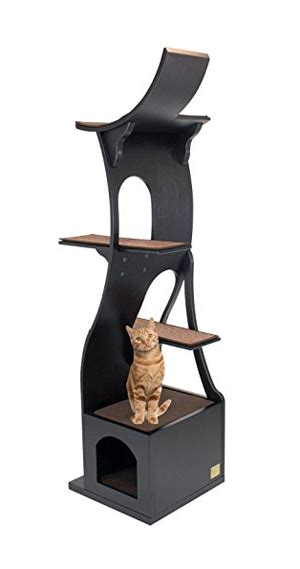 the sebastian modern cat tree in black free shipping modern cat tree designer cat furniture modern cat tree