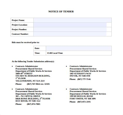 documents templates free sle tender document 7 documents in pdf