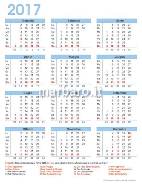 Giorni Festivi Calendario 2017 Calendario 2017 Italiano Con Le Festivit 224 Dell Italia