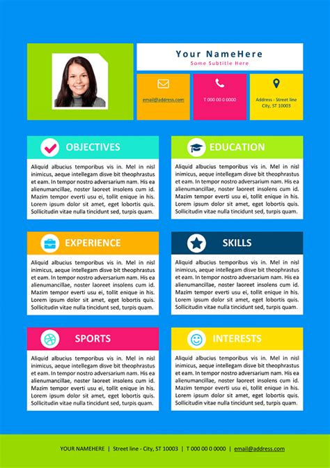 My First Resume Template For Kids Free Colorful Resume Templates