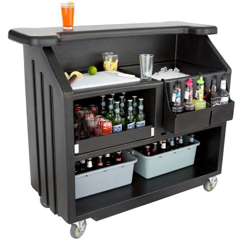 Portable Bars cambro bar540110 cambar black 54 quot portable bar with 5 bottle speed rail