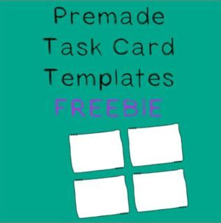 free task card template free task card template resources