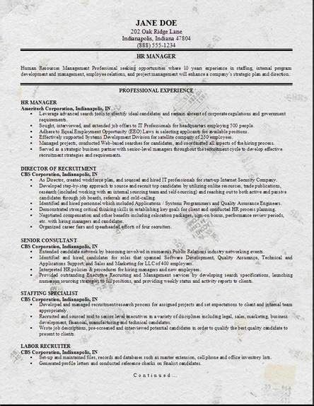 Sample Resume For Hr Recruiter Position by Hr Management Resume Occupational Examples Samples Free