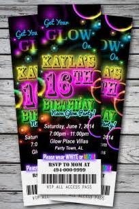 Sweet 16 glow in the dark theme neon disco birthday party invitation