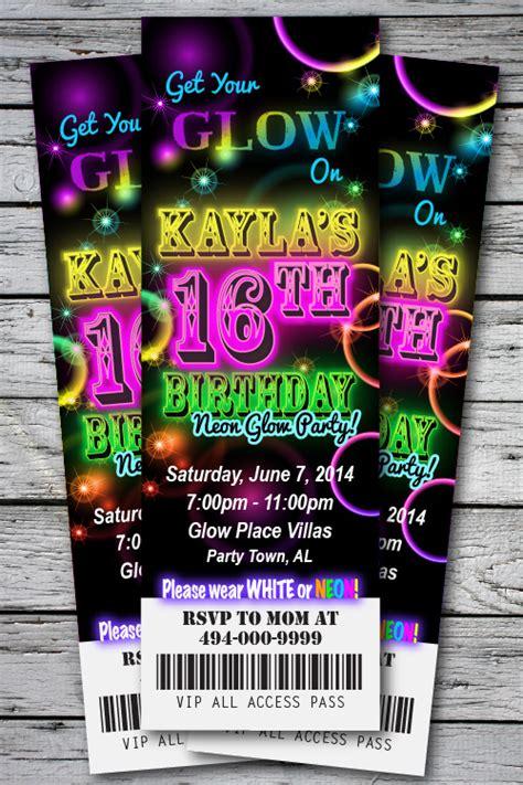 neon invitation template sweet 16 glow in the theme neon disco birthday