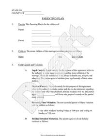Sle Custody Agreement Letter Between Parents Parenting Plan Child Custody Agreement Template With Sle Parental Agreement Contract