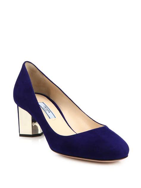 lyst prada suede metal heel pumps in blue