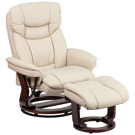 modern leather recliner with ottoman luxurious leather recliner for living room and ottoman