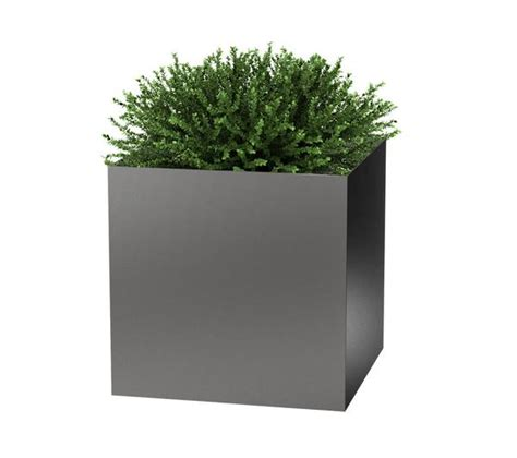Modern Planter Pots by Modern Elite Cube Planter Pewter
