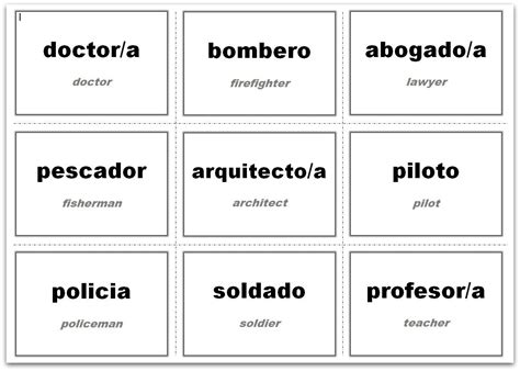 esl card and templates vocabulary flash cards using ms word