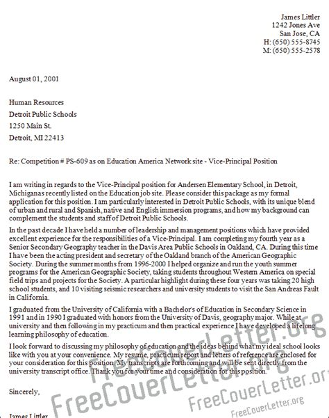 Cover Letter Addressed To Principal Vice Principal Cover Letter Sle