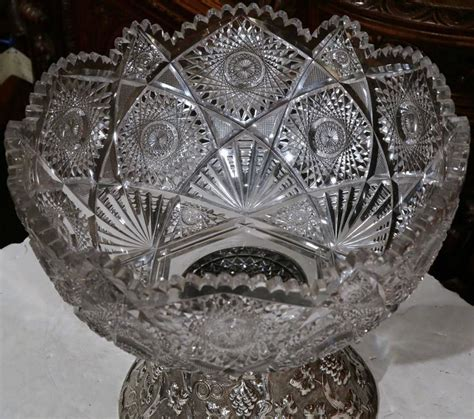 Cut Glass L Base large 19th century cut glass punch bowl with silver