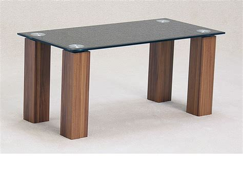 black glass coffee table with oak finish base