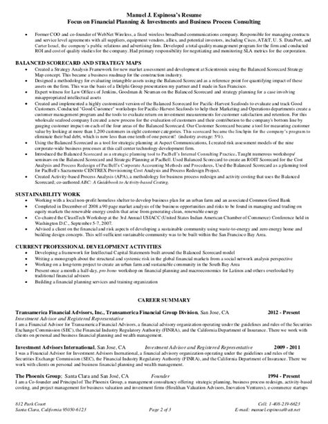 espinosas functional resume financial planning