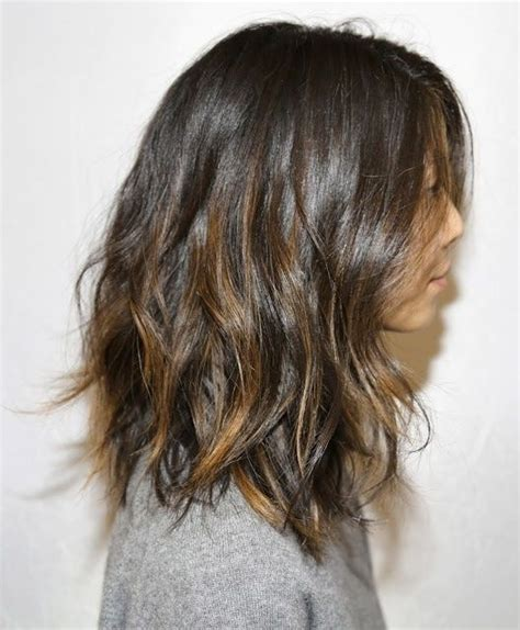 cut before dye hair dark brown hair w light brown dip dye short or long