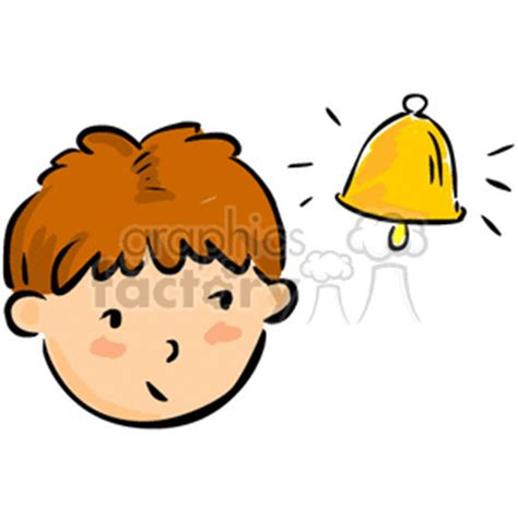 royalty free a boys face looking at a golden bell