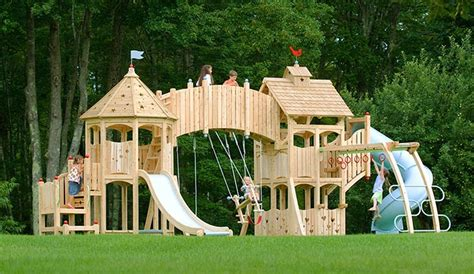 castle swing set plans unique and ultimate backyard playgrounds